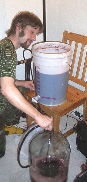 Racking homemade wine