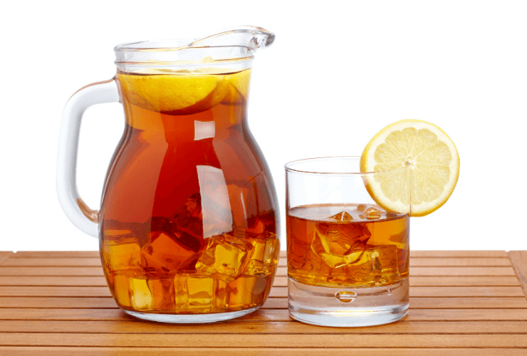 how much caffeine is in a glass of ice tea